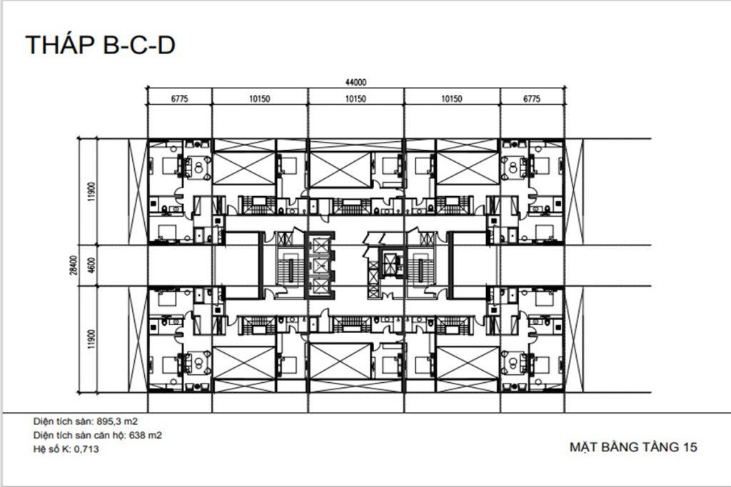 Mặt bằng tầng 15 tháp B-C-D dự án Sunshine Green Iconic Long Biên