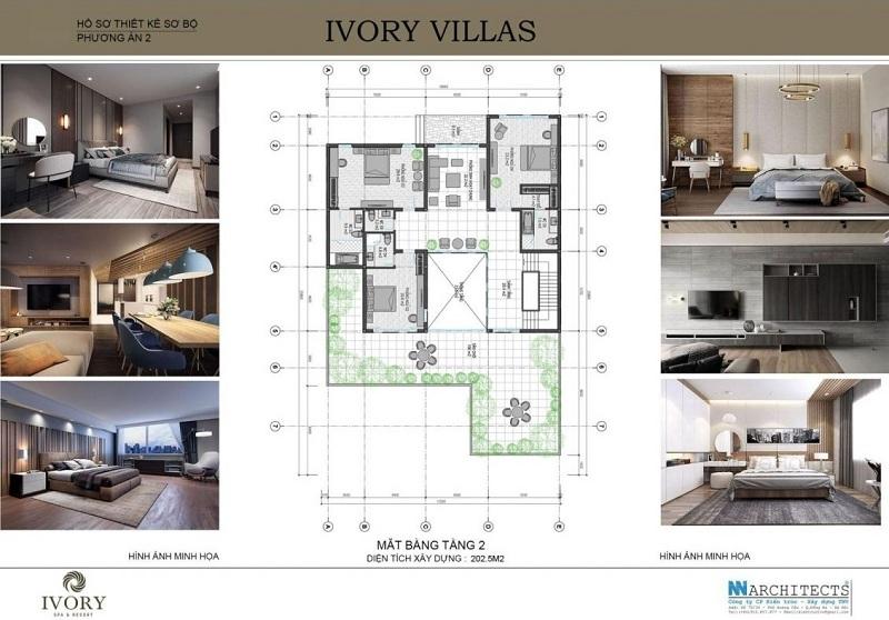 Mặt bằng tầng 2 mẫu B biệt thự Ivory Villas & Resort Hòa Bình