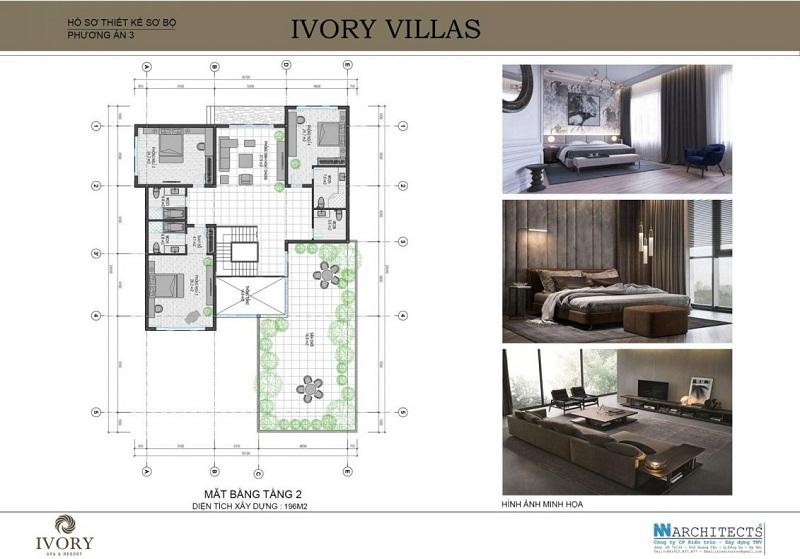 Mặt bằng tầng 2 mẫu C biệt thự Ivory Villas & Resort Hòa Bình