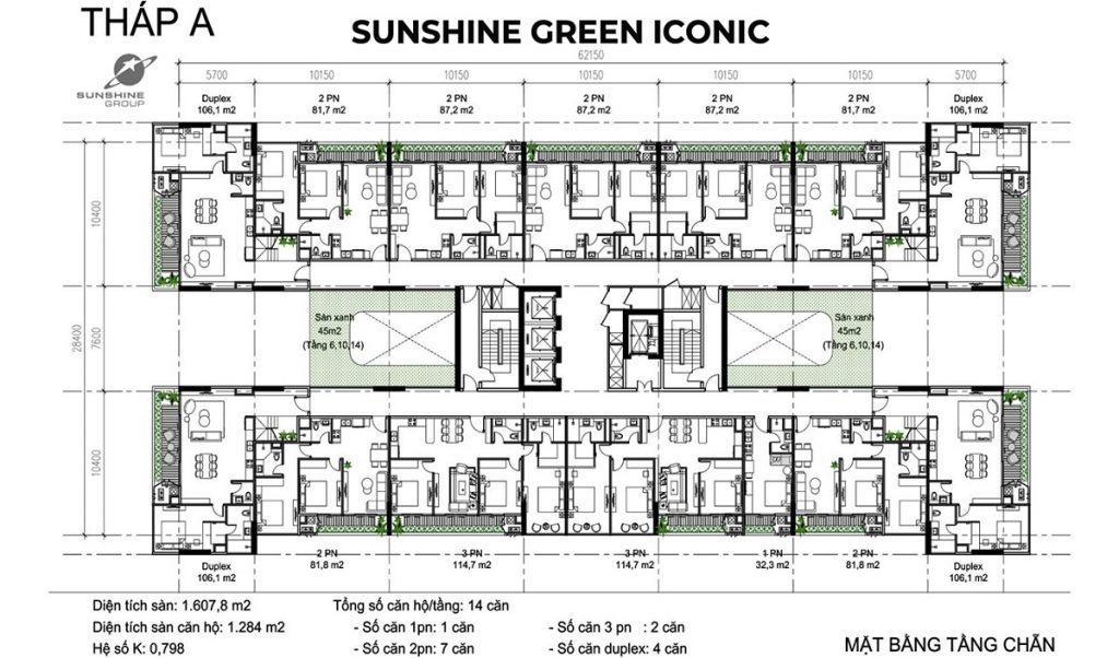 Mặt bằng tầngchẵn tháp A dự án Sunshine Green Iconic Long Biên