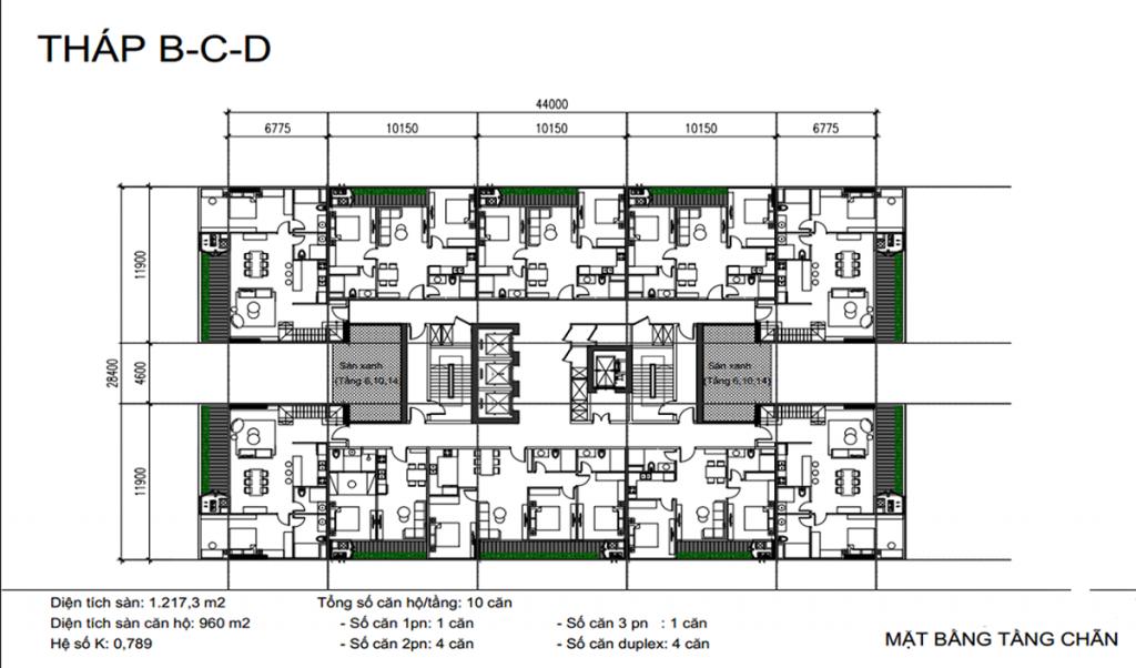 Mặt bằng tầng chẵn tháp B-C-D dự án Sunshine Green Iconic Long Biên