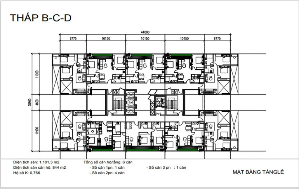 Mặt bằng tầng lẻ tháp B-C-D dự án Sunshine Green Iconic Long Biên