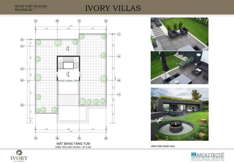 Mặt bằng tầng tum mẫu A biệt thự Ivory Villas & Resort Hòa Bình