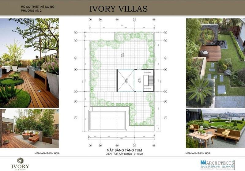Mặt bằng tầng tum mẫu B biệt thự Ivory Villas & Resort Hòa Bình