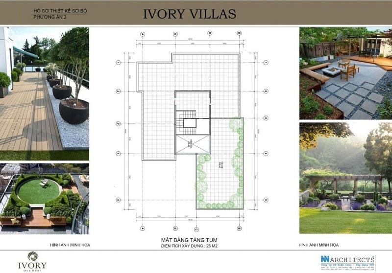 Mặt bằng tầng tum mẫu C biệt thự Ivory Villas & Resort Hòa Bình