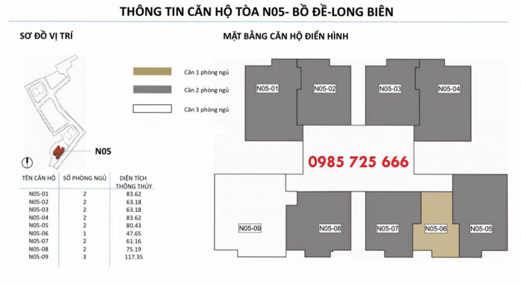Mặt bằng căn hộ tòa N05 dự án Berriver Jardin 390 Nguyễn Văn Cừ - BRG Group