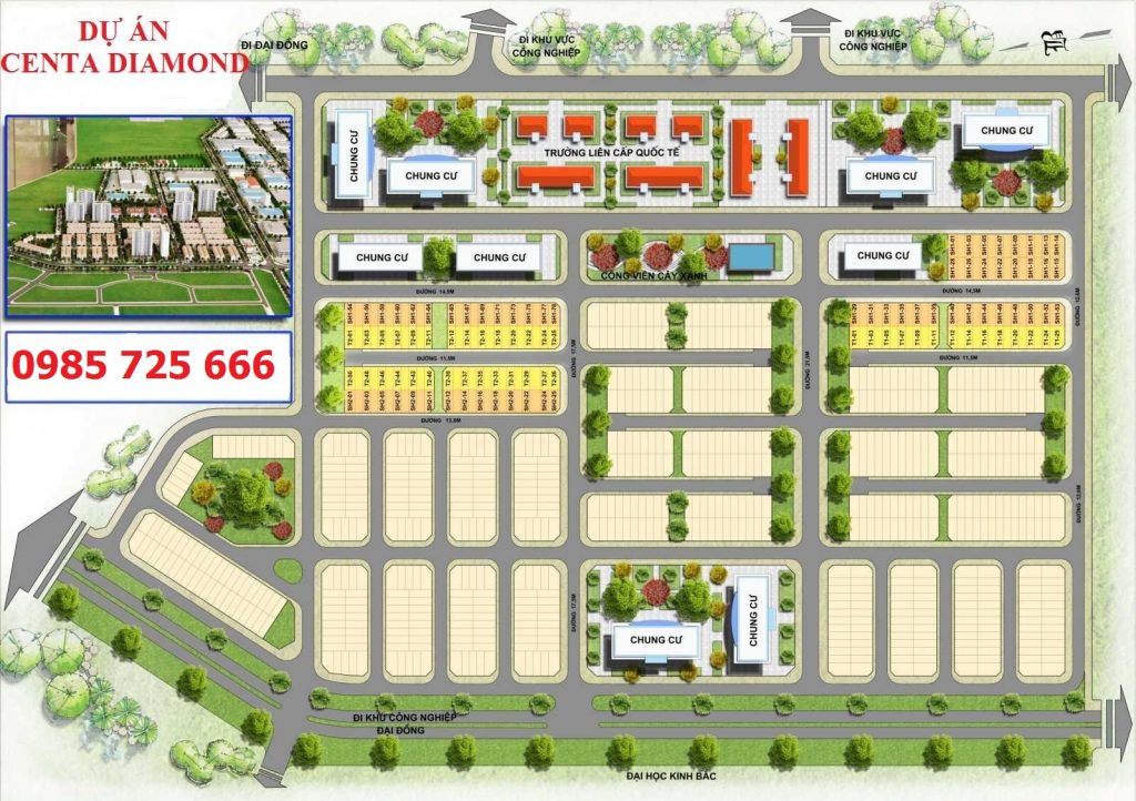 Mặt bằng tổng thể Centa Diamond Việt Nhân VSIP Bắc Ninh