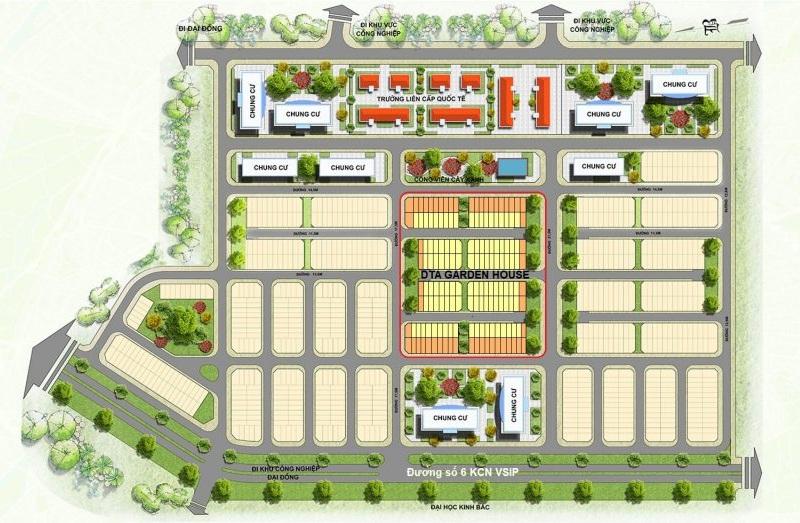 Quy hoạch dự án DTA Garden House trong khu đô thị VSIP Bắc Ninh