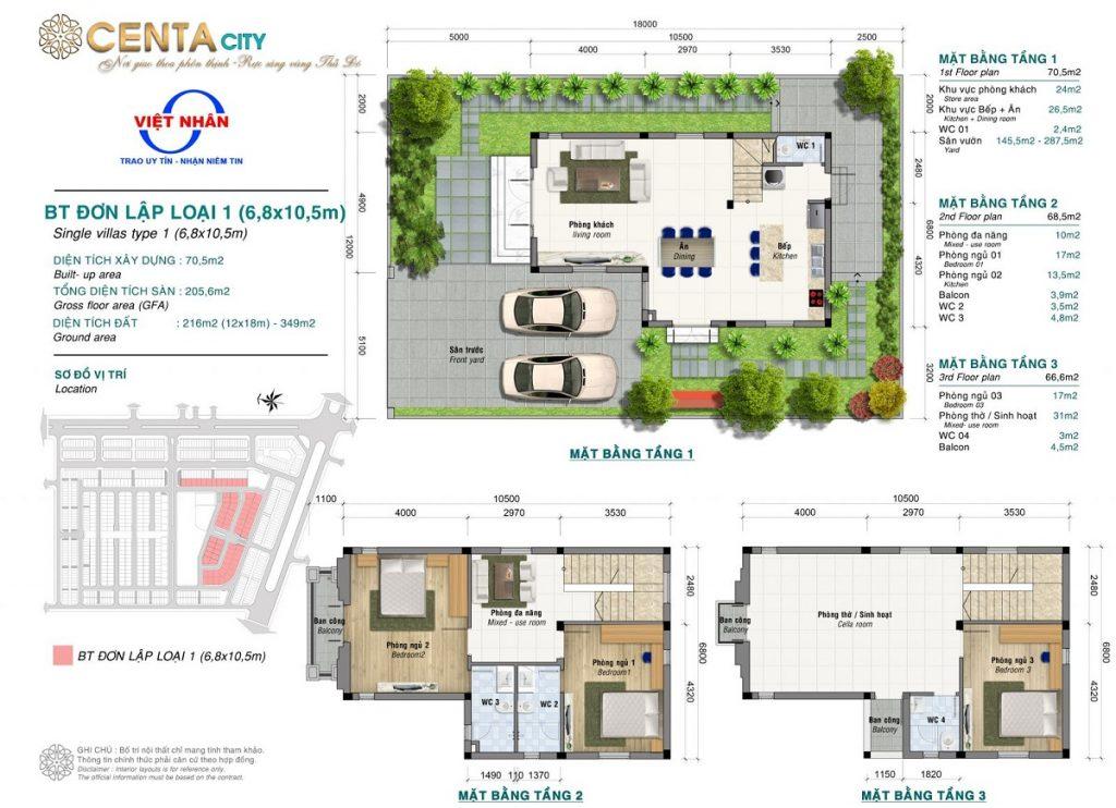 Thiết kế biệt thự vườn 216m2 Centa Diamond Việt Nhân VSIP Bắc Ninh