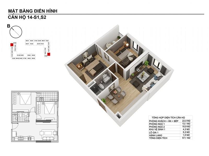 Thiết kế căn hộ 57,1m2 chung cư Hanhomes Blue Star Trâu Quỳ Handico 5