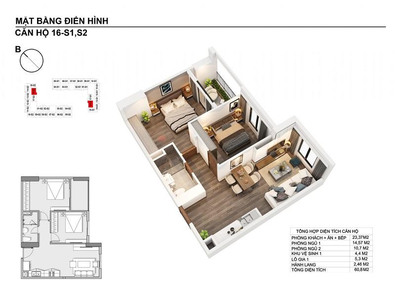Thiết kế căn hộ 60,8m2 chung cư Hanhomes Blue Star Trâu Quỳ Handico 5