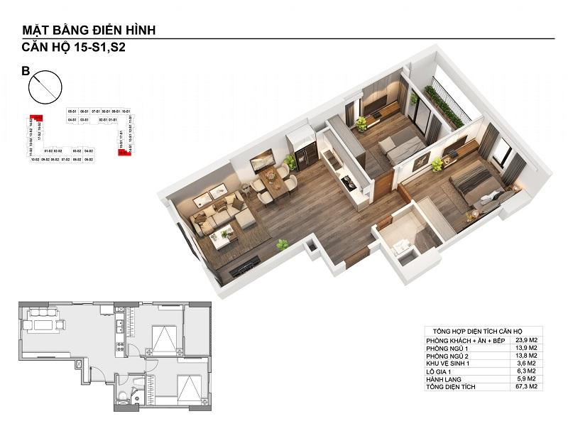 Thiết kế căn hộ 67,3m2 chung cư Hanhomes Blue Star Trâu Quỳ Handico 5