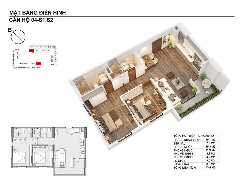 Thiết kế căn hộ 73,4m2 chung cư Hanhomes Blue Star Trâu Quỳ Handico 5
