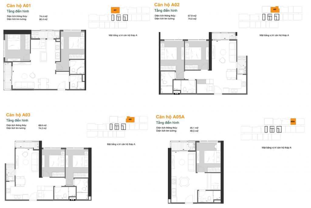 Thiết kế căn hộ A01-02-03-05A dự án chung cư The Ruby Hạ Long MBLand