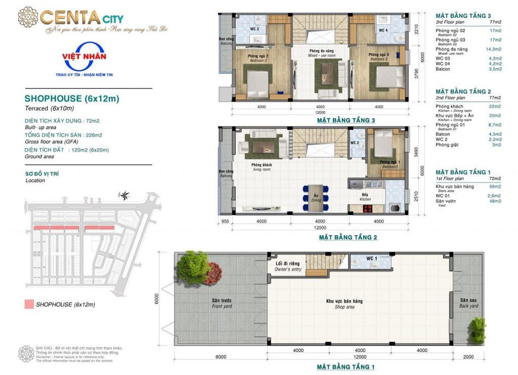 Thiết kế shophouse 120m2 Centa Diamond Việt Nhân VSIP Bắc Ninh