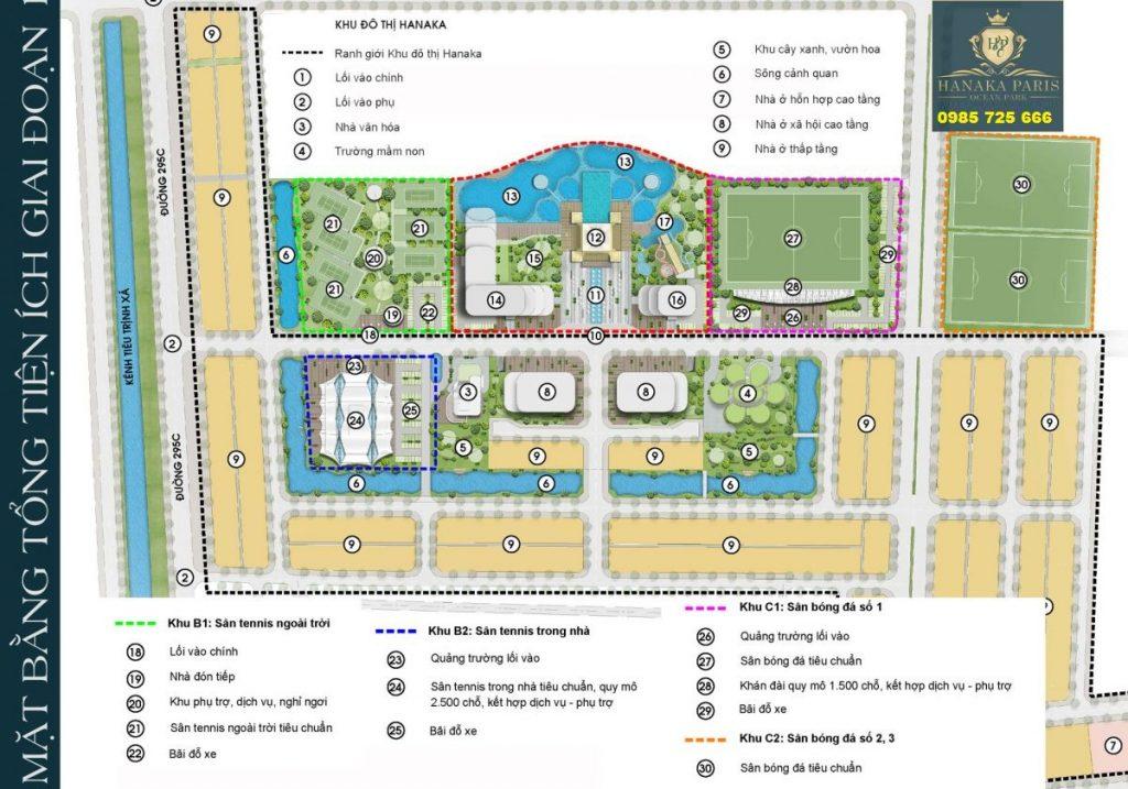 Tổng mặt bằng dự án Hanaka Paris Ocean Park Từ Sơn - Bắc Ninh