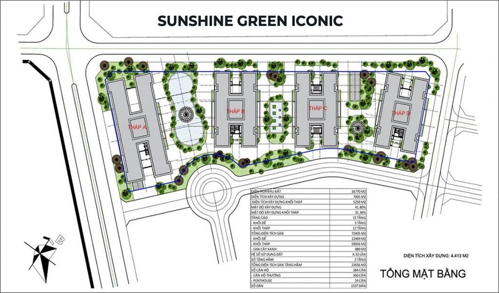 Tổng mặt bằng dự án Sunshine Green Iconic Long Biên