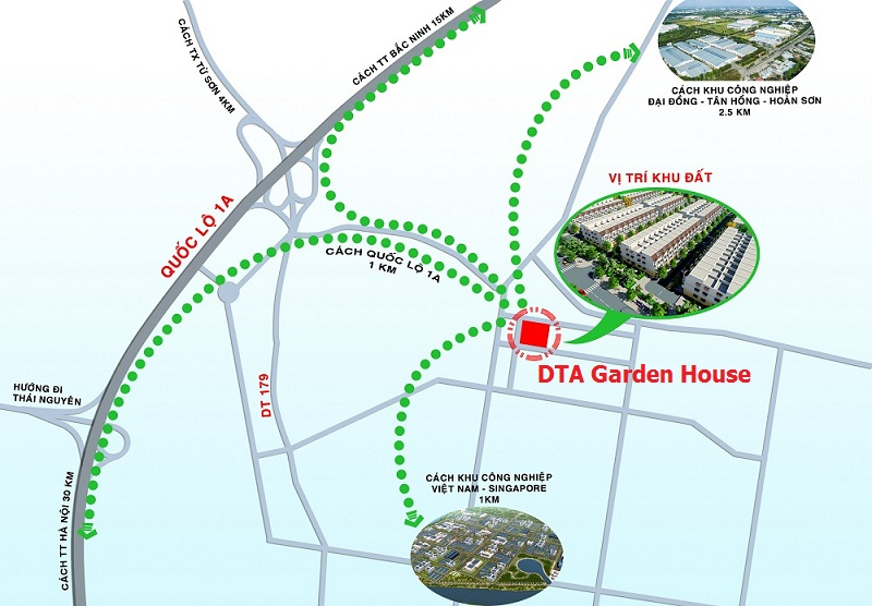 Vị trí dự án DTA Garden House VSIP Bắc Ninh
