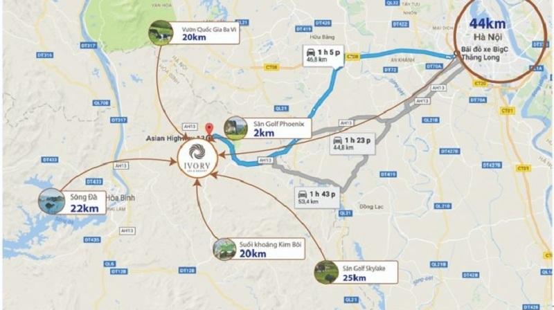 Vị trí Ivory Villas & Resort Lương Sơn - Hòa Bình