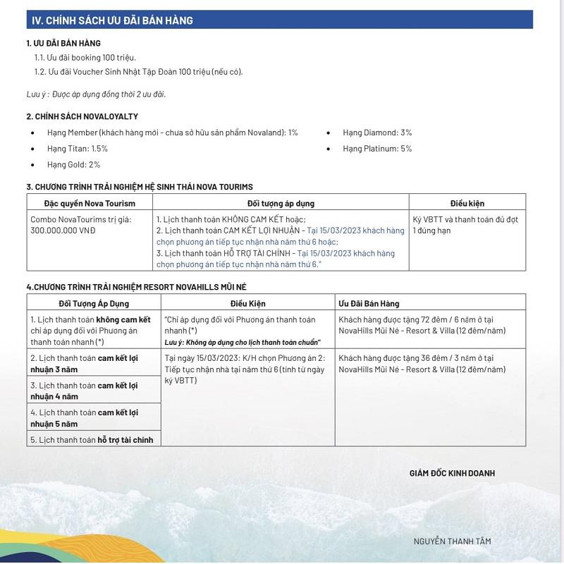 Chính sách ưu đãi dự án Novaworld Phan Thiết - Bình Thuận