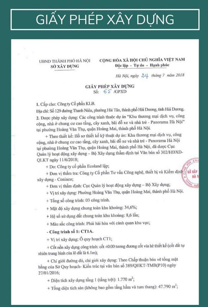 Giấy tờ pháp lý dự án Feliz Homes Hoàng Mai