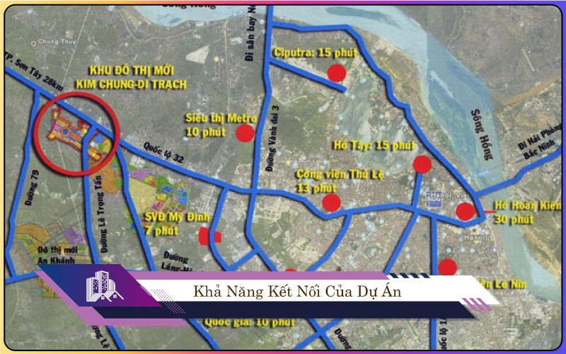 Kết nối khu đô thị Hinode Royal Park Kim Chung - Di Trạch (Hoài Đức)