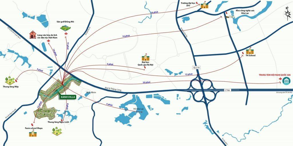 Kết nối dự án Xanh Villas Hòa Lạc