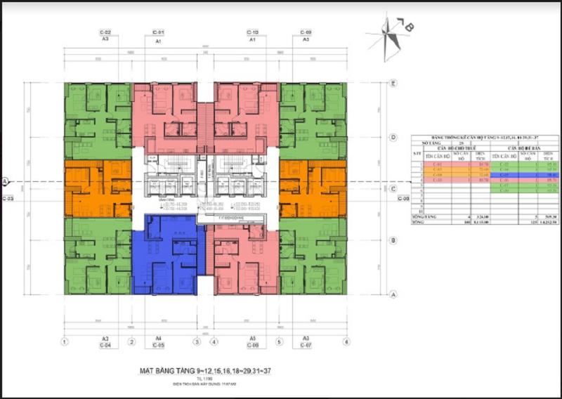 Mặt bằng căn hộ toà 45T dự án Ariyana Lake Side Văn Quán - Hà Đông