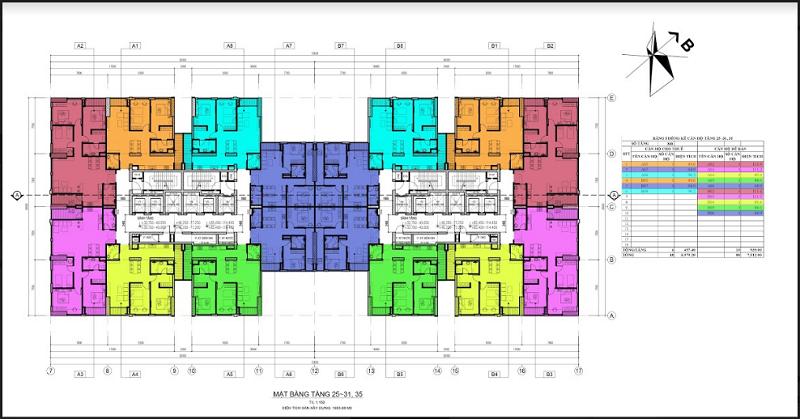 Mặt bằng căn hộ toà 50T dự án Ariyana Lake Side Văn Quán - Hà Đông