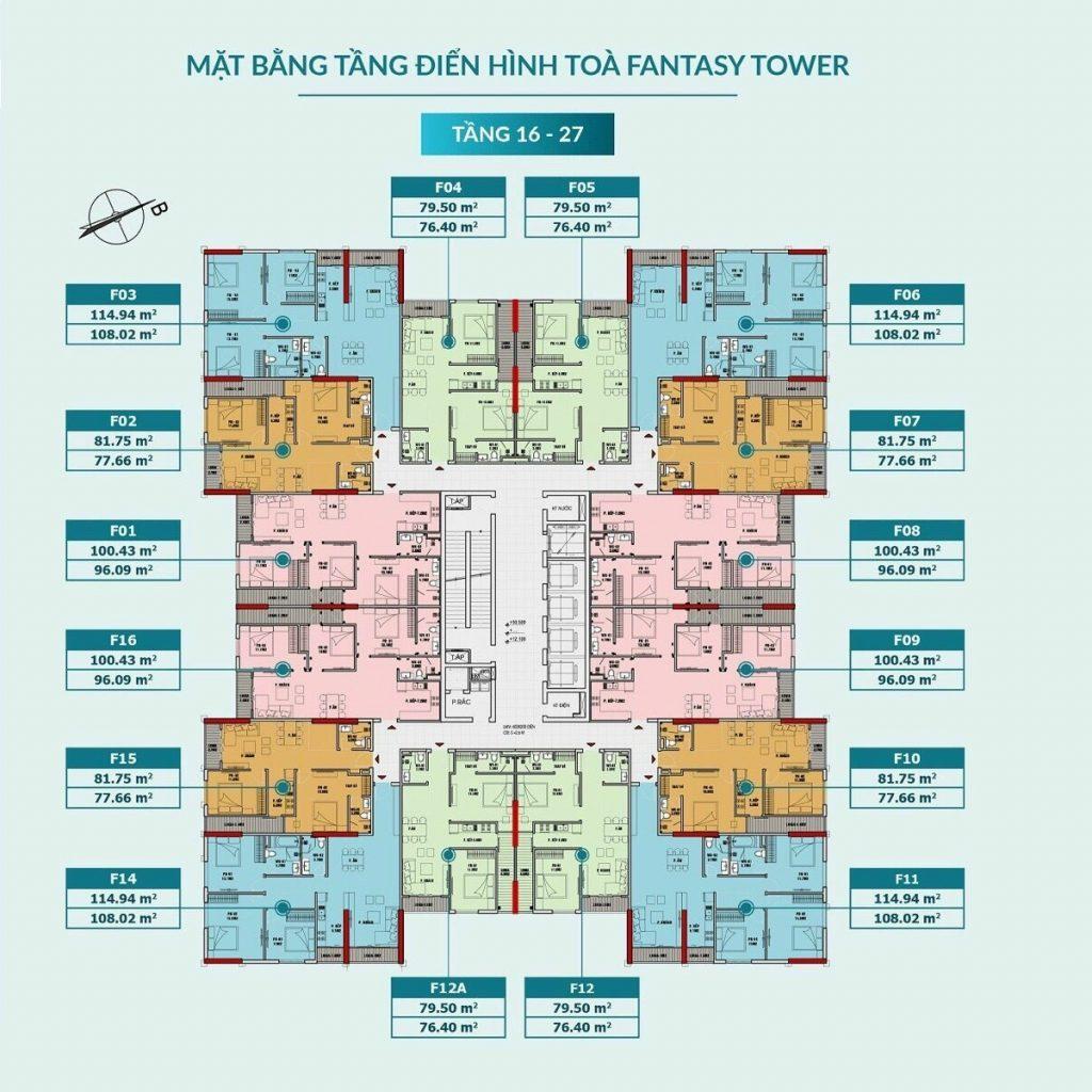 Mặt bằng căn hộ tòa Fantasy tầng 16-27 dự án Feliz Homes Hoàng Mai