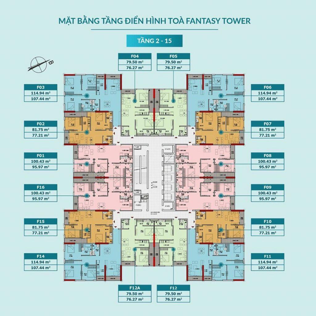 Mặt bằng căn hộ tòa Fantasy tầng 2-15 dự án Feliz Homes Hoàng Mai