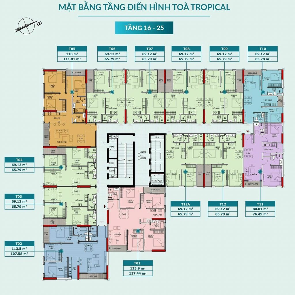 Mặt bằng căn hộ tòa Tropical tầng 16-25 dự án Feliz Homes Hoàng Mai