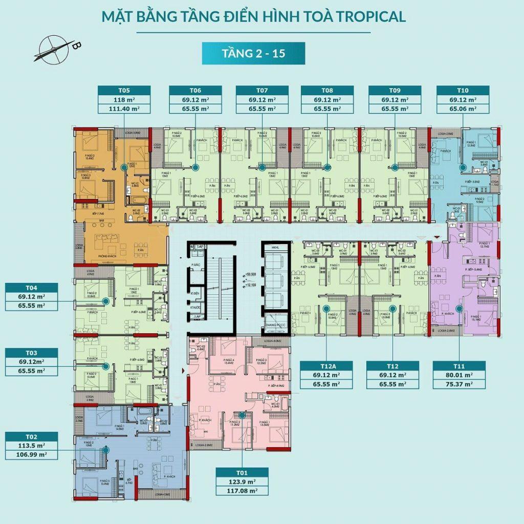 Mặt bằng căn hộ tòa Tropical tầng 2-15 dự án Feliz Homes Hoàng Mai