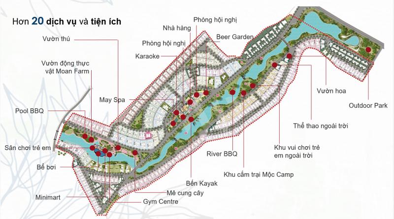 Mặt bằng dịch vụ tiện ích dự án Xanh Villas Hòa Lạc