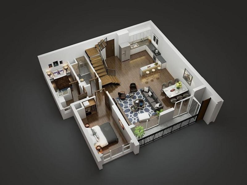 Mặt bằng Duplex tầng 1 tòa Diamond Goldmark City 136 Hồ Tùng Mậu