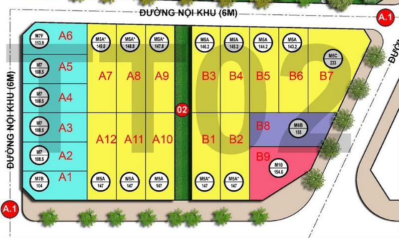 Mặt bằng khu TT02 dự án Hoàng Thành Villas Mỗ Lao