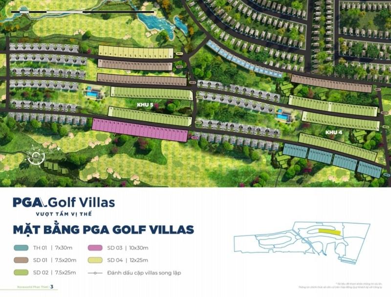 Mặt bằng phân khu PGA Golf Villas dự án Novaworld Phan Thiết - Bình Thuận