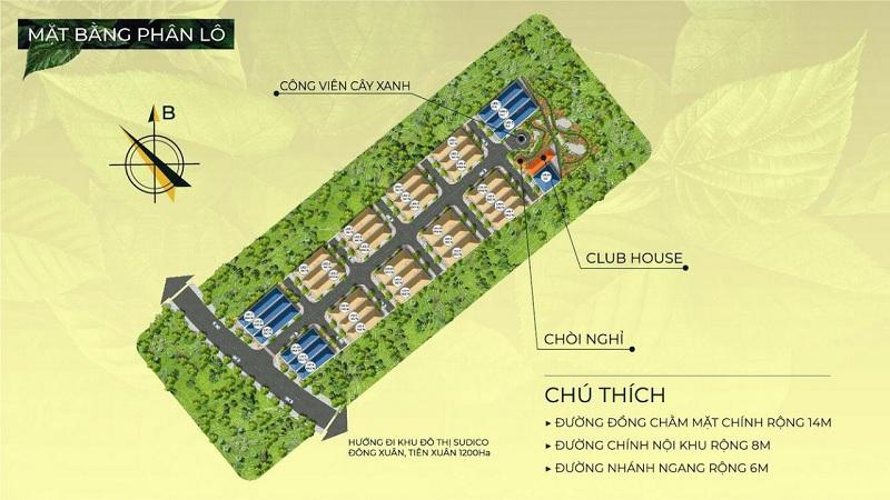 Mặt bằng phân lô dự án Hòa Lạc Charm Villas 36 lô Đồng Chằm - Đông Xuân