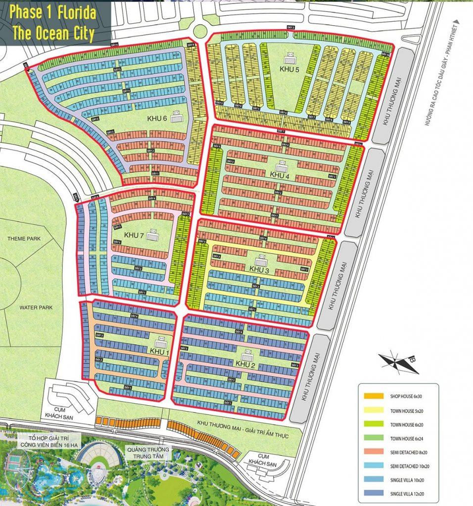 Mặt bằng phase 1 phân khu Florida dự án Novaworld Phan Thiết - Bình Thuận