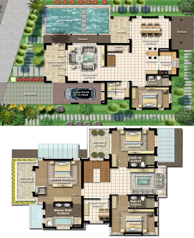 Mặt bằng thiết kế biệt thự Beauty Xanh Villas Resort Hòa Lạc