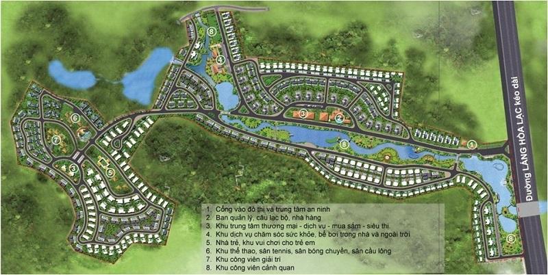 Mặt bằng tổng thể Xanh Villas Resort Hòa Lạc
