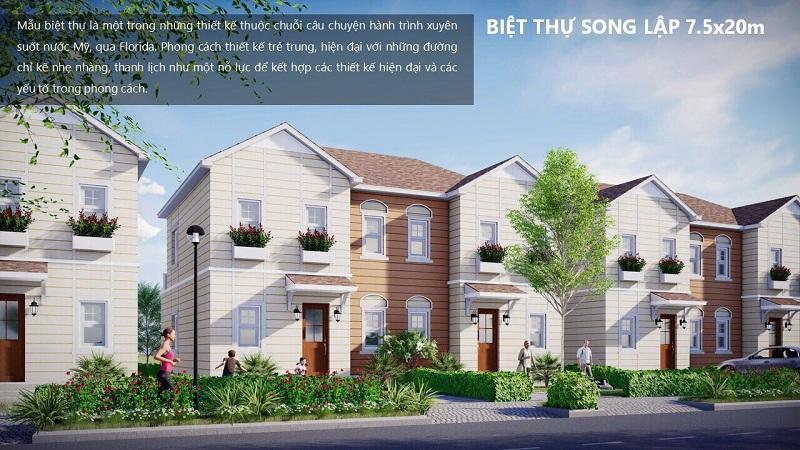 Mẫu biệt thự song lập Florida Mỹ 7,5x20m dự án Novaworld Phan Thiết - Bình Thuận