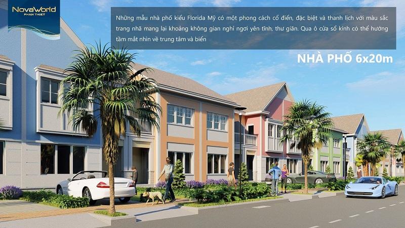 Mẫu nhà phố Florida Mỹ 6x20m dự án Novaworld Phan Thiết - Bình Thuận