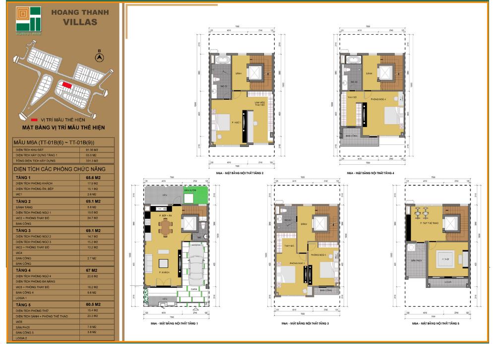 Mẫu thiết kế liền kề 2 dự án Hoàng Thành Villas Mỗ Lao
