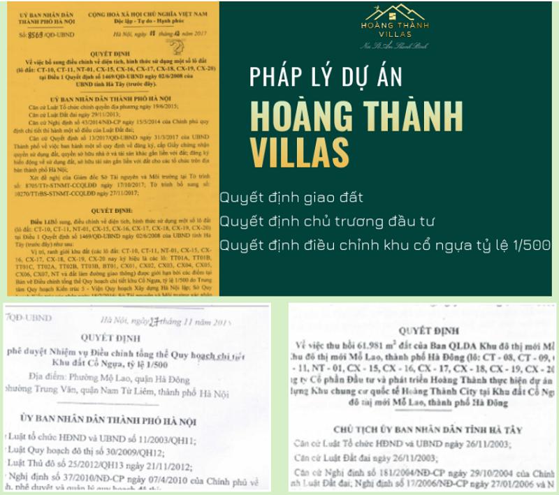 Pháp lý dự án Hoàng Thành Villas Mỗ Lao