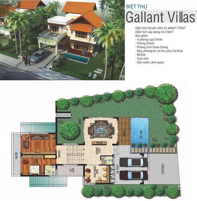 Phối cảnh biệt thự Gallant Xanh Villas Resort Hòa Lạc