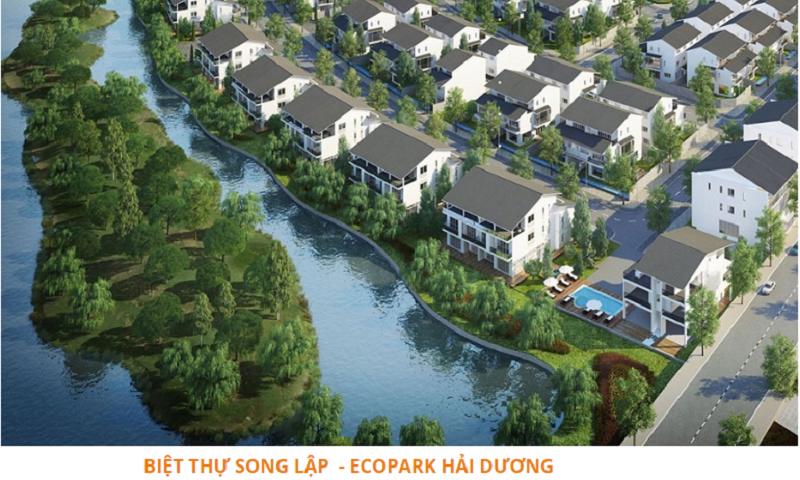 Phối cảnh biệt thự song lập dự án Ecoriver Hải Dương Ecopark