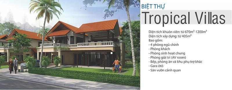 Phối cảnh biệt thự Tropical Xanh Villas Resort Hòa Lạc