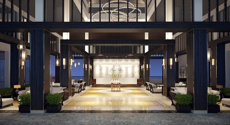Sảnh lobby sang trọng Xanh Villas Resort Hòa Lạc