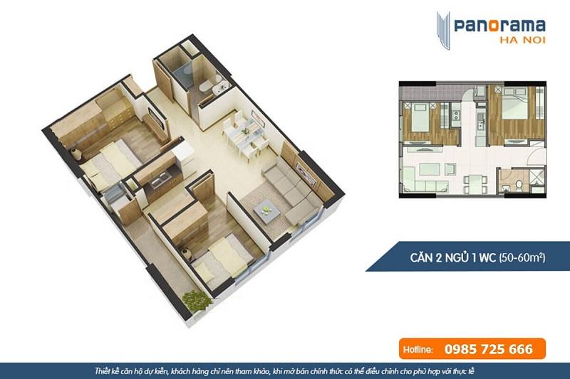 Thiết kế căn hộ 2n1wc chung cư Panorama Hoàng Văn Thụ - Hoàng Mai